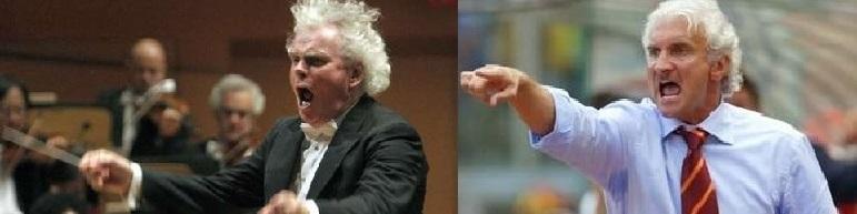 """Simon Rattle und Rudi Völler. Tränenreicher Abschied! Es war einst nach der verkorksten EM 2004 als Simon Rattle sagte: """"Blutige Hölle! So kann meine Mannschaft die Sinfonie fantastique unmöglich spielen! Ich gehe! Tschüssi!"""""""